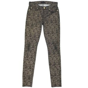 7 For All Mankind Black Gold Printed Skinny Jeans